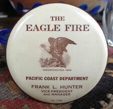 Old Advertising The Eagle Fire Insurance Celluloid Pocket Desktop Mirror N.Y.