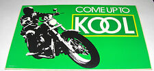 "Vintage COME UP TO KOOL CIGARETTES MOTORCYCLE RIDER 6""X 4"" STICKER 1986 RARE"