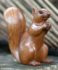 Original Wood Sculpture Hand Carved 'Squirrel with an Acorn' NOVICA Bali