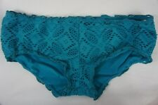 Becca Bikini Bottom Sz S Teal Hot Short Crochet Swimwear Swim Bottoms 049700MR