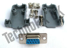 DB9 female DB9F socket connector  + shell/shroud/hood UK seller serial, COM port