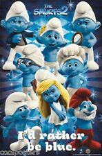 THE SMURFS 2 MOVIE CAST POSTER I'D RATHER BE BLUE 22X34 FREE SHIPPING