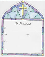 CHRISTIAN PARTY INVITATION Baptism Christening Communion Easter Church Cross NEW