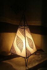 Medium sized Moroccan table lamp.Cream + henna designs. Ethnic bedside light