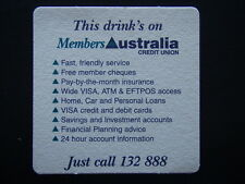 MEMBERS AUSTRALIA CREDIT UNION THIS DRINK'S ON 132888 COASTER