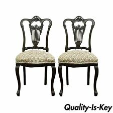 Pair of Antique Victorian Carved Mahogany Lyre Back Accent Side Chairs French