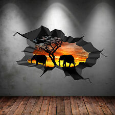 FULL COLOUR ELEPHANT SAFARI CAVE CRACKED 3D WALL ART STICKER DECAL MURAL 2