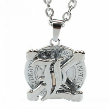 Anime Death Note L Rotatable Silver Alloy Pendant Necklace Cosplay Gift Fashion