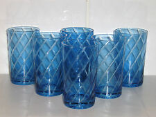 6 x Bohemian Blue Cut to Clear Tumblers Water / Juice 11cm high