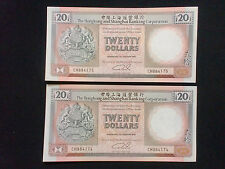 Hong Kong $20 HSBC Bank 1st Jan 1991 (UNC) 2pcs RN  全新UNC 香港 汇丰银行 1991年 20元