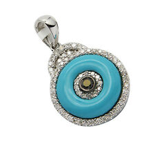 14K WHITE GOLD BLACK DIAMOND TURQUOISE HAMSA EVIL EYE PENDANT NECKLACE CHARM