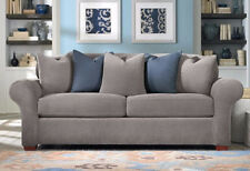 Sure Fit flannel gray 2 cushion Stretch Pique Sofa sure fit slipcover
