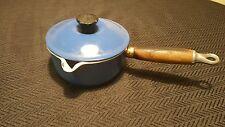 Vintage Le Creuset #14 Dark Blue Cast Iron Wood Handle Pour Saucepan Pan