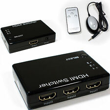 3 Port/Way HDMI Switch Box -Full HD & IR Remote Control- Input Selector Switcher