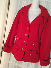 Joan Rivers Perfectly Tailored Jacket 2X Gold buttons Knit  Red