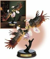 "NIB FRANKLIN MINT CLASH OF THE SKY KINGS PORCELAIN & BRONZE  EAGLES 19"" 18LB+COA"