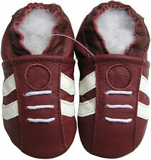 carozoo sports dark red 2-3t new soft sole leather toddler shoes
