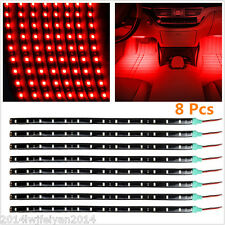 8x Red 15LED 30CM Car Grill Flexible Waterproof Light Strips Interior Decor Lamp