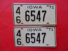 1971 Iowa passenger license plate Pair