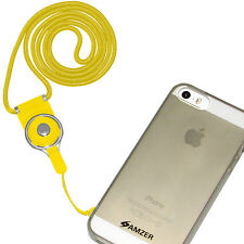 Amzer Round Detachable ID Card Key Chain Cell Phone Neck Lanyard Straps - Yellow