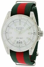 YA136207 Gucci Dive Green Red Nylon Band Swiss Watch New Authentic