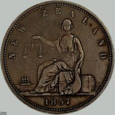 1857 New Zealand Penny KM# Tn16, Big Copper coin, Nice