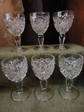 """EAPG Stem Sm Wine Cordial Starburst Bullseye Glass Hexagonals (6) 4""""t Vintage"""
