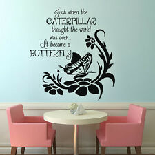 Inspired Wall Sticker Butterfly Flower Word Girl Baby Room Removable Vinyl Decor