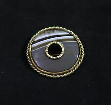 Scottish Victorian Banded Agate Brooch - Round , Antique