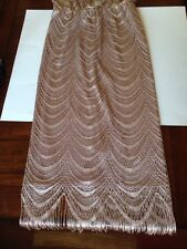 Dress Barn Mother Of The Bride Dress Formal Lace Fringe Mauve Taupe Size 8 NWT