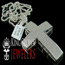 Mens Ladies White Gold Finish Simulated Diamond Jesus Cross Pendant Charm Chain