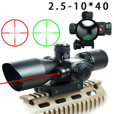 Rifle Gun 2.5-10x40 Rifle Scope Red Laser Dual illuminated Mil-dot w/ Rail