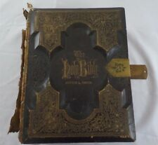 1874 Antique Family Holy Bible,Engravings,Tintype,CDV Photos, Gilt, Gustave Dore