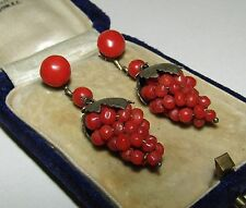 INTRICATE, ANTIQUE, SILVER 835/9CT GOLD EARRINGS WITH FINE CORAL