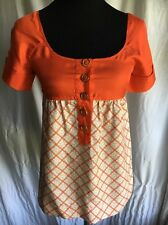 Orange JUICY COUTURE 100% Silk Short Sleeve Scoop Neck Top Shirt Blouse S