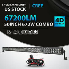 "4D+ 50Inch 672W Led Light Bar Spot Flood Offroad Driving Lamp 4WD Truck 52"" 54"""