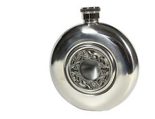 Celtic Pewter Flask Glass Center Irish Made