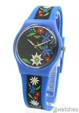 New Swatch Gent Edelblau Blue Silicone Women Date Watch 34mm GN412 $60