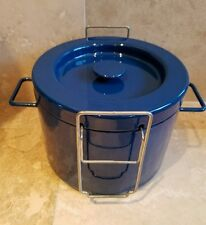 Vintage Copco Michael Lax Blue Enamelware Deep Fryer Pot Basket Lid CLEAN GREAT!