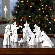 9-Piece Porcelain Origami Nativity Set - Jesus Mary Wisemen More -Chrismas Décor