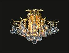 "Beautiful CRYSTAL GOLD CHANDELIER 3-light (D16"" x H11"") CEILING MOUNT"