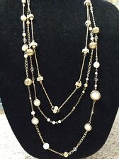 $39.99 Ann Taylor Multi Layer Gold Tone & Pearl Necklace #215