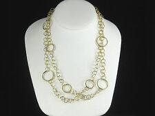 """Open Ring Necklace 14K Yellow Gold Circle Link Chain 19"""" 11g Double Row Fine"""
