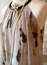 Mango élégant multicolore imprimé dos-nu robe FR38 UK10 neuf sans étiquette!