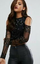 Maya Tall All Over Tonal Sequin Shoulder Top SIZE 12 - BRAND NEW WITH TAGS