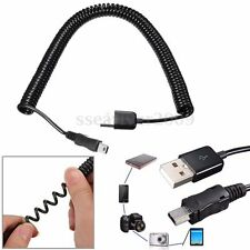 10FT Spiral Coiled USB 2.0 A Male to Mini USB B Male 5Pin Data Charger Cable