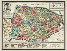 MAP 17TH CENTURY HOLLAR NORFOLK HUNDREDS ENGLAND REPLICA POSTER PRINT PAM0251