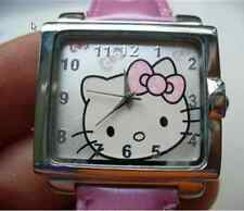 HELLO KITTY Watch Square Faced Leather Band Quartz Watch (Pink) Genuine Leather