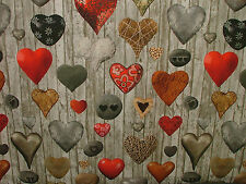 2m Scandinavian Love Hearts Photo Digital Printed Curtain Upholstery Fabric