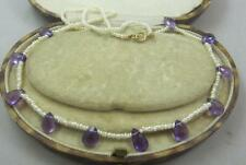 "Exquisite 16"" Victorian Seed Pearl and faceted natural amethyst drops necklace"